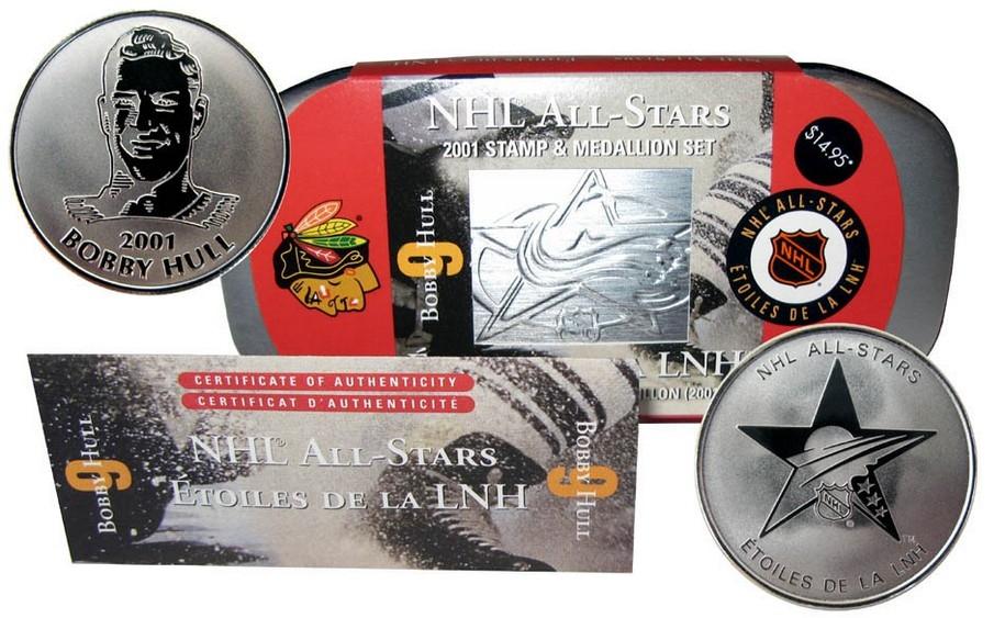 2001 Stamp Amp Medallion Chicago Blackhawks Bobby Hull