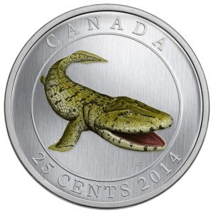 2014 25c Prehistoric Creatures: Tiktaalik - Glow-in-the-Dark Coloured Coin