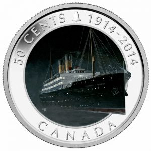 2014 50c Lost Ships in Canadian Waters: R.M.S. Empress of Ireland - Coloured Coin