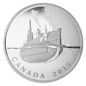 2015 $20 The Canadian Home Front: Canada's First Submarines During the First World War - Pure Silver Coin