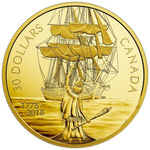 2018 $30 Captain Cook and the HMS Resolution - Pure Silver Coin