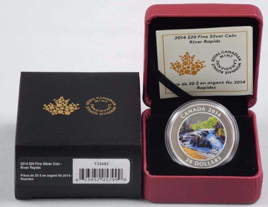 River Rapids 2014 Canada $20 Fine Silver Coin